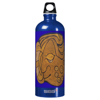 THE SMILING MAYAN MEDALLION- MIDNIGHT BLUE- CANCUN WATER BOTTLE