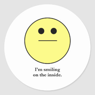 The Smily face for those who are not smiling. Round Sticker