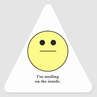 The Smily face for those who are not smiling. Triangle Sticker