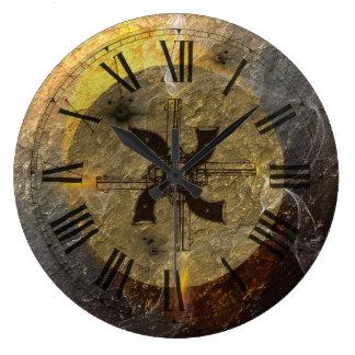 The Smoke Of Guns Cowboys Action Shooting Large Clock