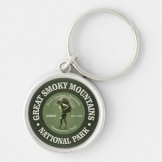 The Smokies Silver-Colored Round Key Ring