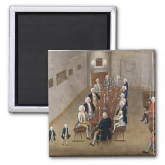 The smoking council of Frederick William I Square Magnet