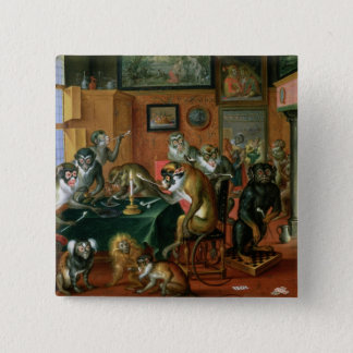 The Smoking Room with Monkeys 15 Cm Square Badge