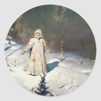 The Snow Maiden Fantasy Art Classic Round Sticker