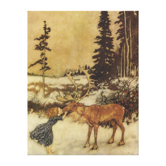 The Snow Queen with Gerda Fairy Tale Stretched Canvas Print