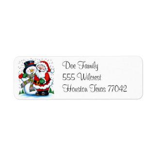 The Snowman & Santa Claus Avery Label