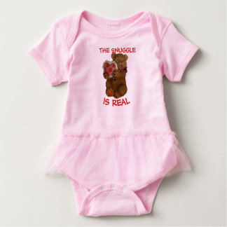 The Snuggle is Real  Teddy Bear and Heart Baby Bodysuit
