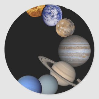 The solar system range our planets classic round sticker