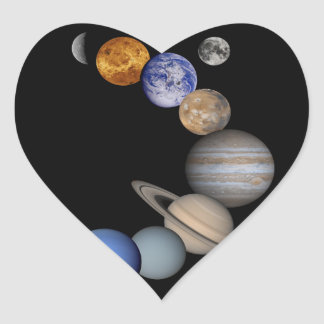 The solar system range our planets heart sticker