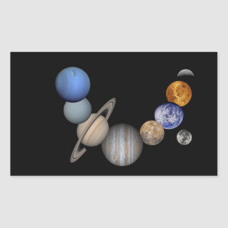 The solar system range our planets rectangular sticker