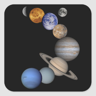 The solar system range our planets square sticker