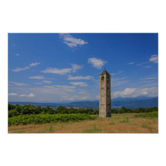 The solitary medieval bell tower on poster paper