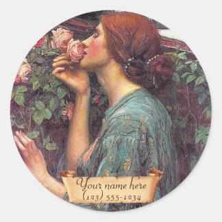 """The Soul of the Rose"" Pre-Raphaelite Bookplate Classic Round Sticker"
