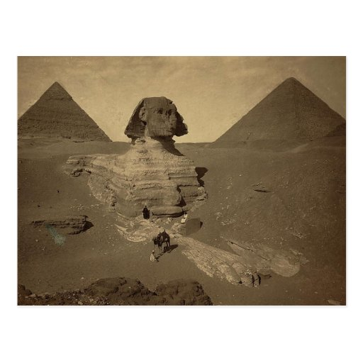 The Sphinx and Pyramids in Egypt circa 1867 Postcard