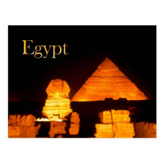 The Sphinx and the Pyramid of Khafre at night Postcard