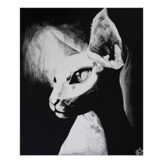 The Sphynx Cat Feline Original Art Poster