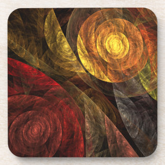 The Spiral of Life Abstract Art Cork Coaster