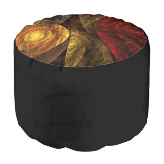 The Spiral of Life Abstract Art Round Pouf