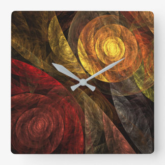 The Spiral of Life Abstract Art Square Wallclock