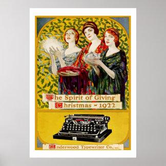 The spirit of Giving (Vintage typewriter ad) Poster