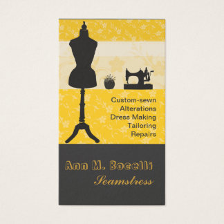 The Spirited Seamstress Gold Retro Vintage Shop Business Card