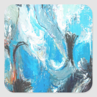 The Spiritual War ( abstract expressionism ) Square Sticker