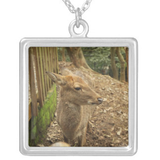 The Spotted Deer Square Pendant Necklace