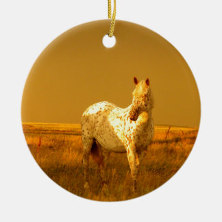 The Spotted Horse In The Golden Glow of A Prairie Ceramic Ornament