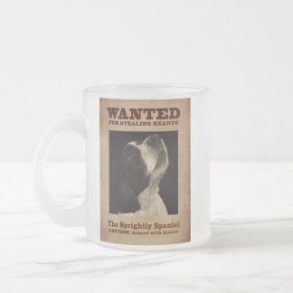 The Sprightly Springer Spaniel Frosted Glass Coffee Mug