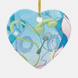The Squid & the Spaghetti Ceramic Heart Decoration
