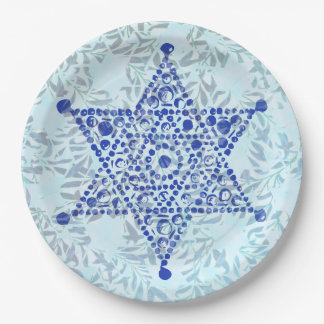 The Star of David jewel design on leaves Paper Plate