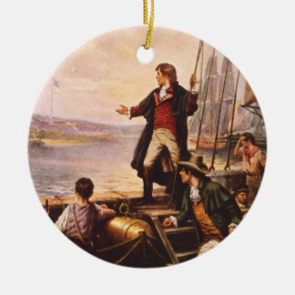 The Star Spangled Banner by Percy Moran Round Ceramic Decoration
