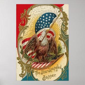 The Star Spangled Banner Eagle American Flag Print