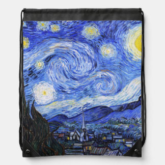 The Starry Night by Van Gogh Drawstring Backpack