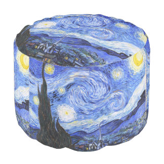 The Starry Night by Van Gogh Round Pouffe