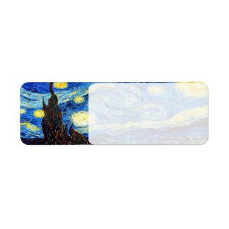 The Starry Night by Vincent van Gogh 1889 Return Address Label