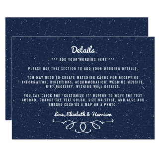 The Starry Night Wedding Collection - Detail Card