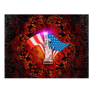 The Statue of Liberty with decorative floral elmen Postcard