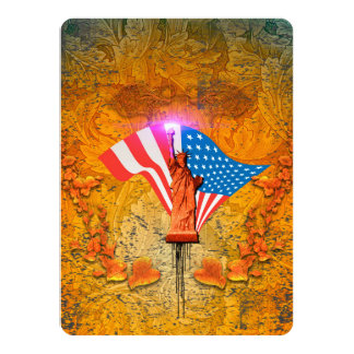The Statue of Liberty with USA flag 14 Cm X 19 Cm Invitation Card