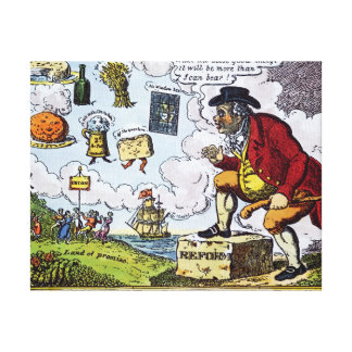 The Stepping Stone,John Bull peeping into Canvas Print