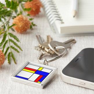 -THE STIJL-De STIJL- Silver-Colored Square Key Ring