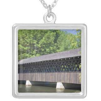 The Stone Mountain Covered Bridge at Stone Square Pendant Necklace
