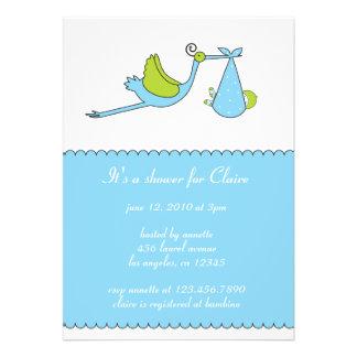 The Stork Boy Baby Shower Invitation Card