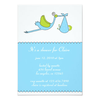 The Stork Boy Baby Shower Invitation Card