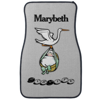 The Stork Carries a Baby Girl Car Mat
