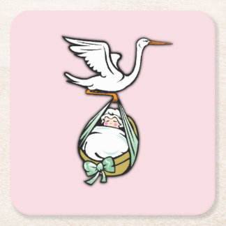The Stork Carries a Baby Girl Square Paper Coaster