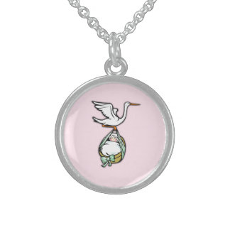The Stork Carries a Baby Girl Sterling Silver Necklace