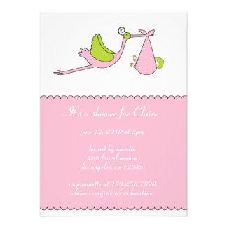 The Stork Girl Baby Shower Invitation Card