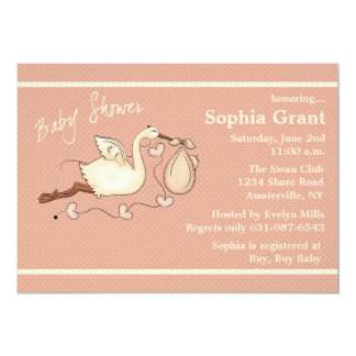 The Stork is Coming (peach) - Baby Shower 13 Cm X 18 Cm Invitation Card
