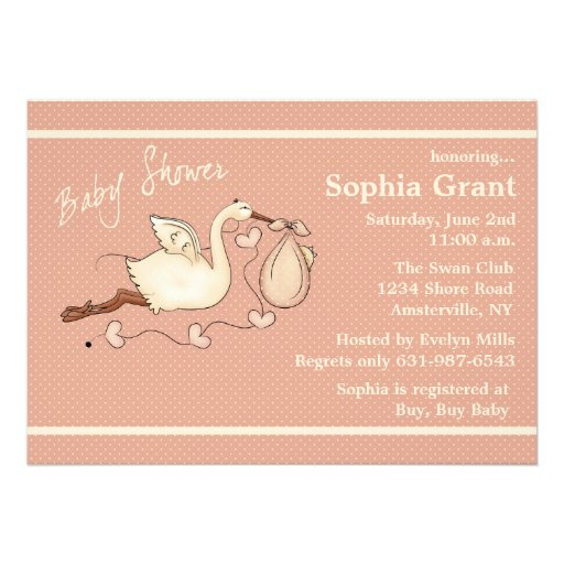 The Stork is Coming (peach) - Baby Shower Personalized Announcement